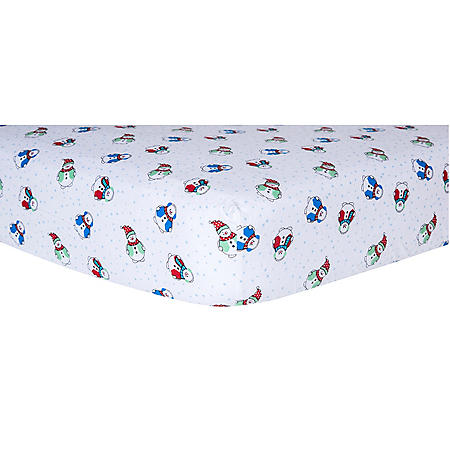 Trend Lab Flannel Fitted Crib Sheet, Snowman