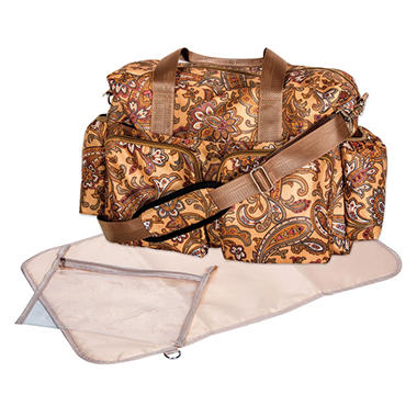 Trend Lab Deluxe Duffle Diaper Bag, Paisley Brown