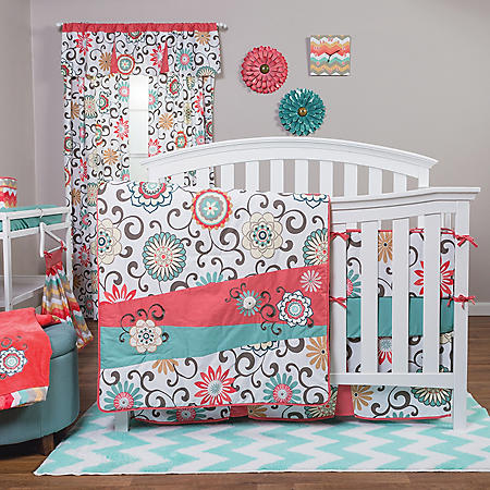 Waverly Pom Pom Play 4-Piece Crib Bedding Set, Coral