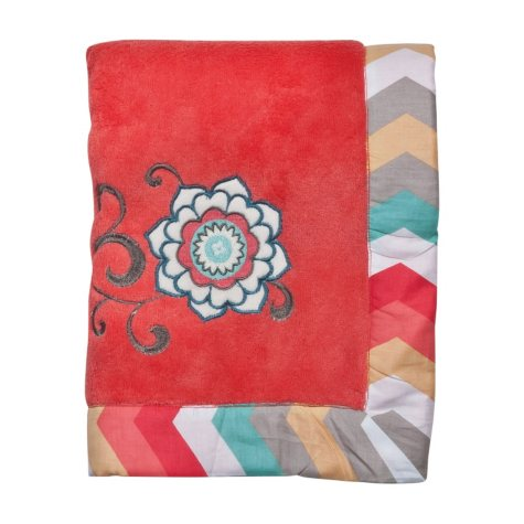 Waverly Pom Pom Play Baby Blanket, Coral