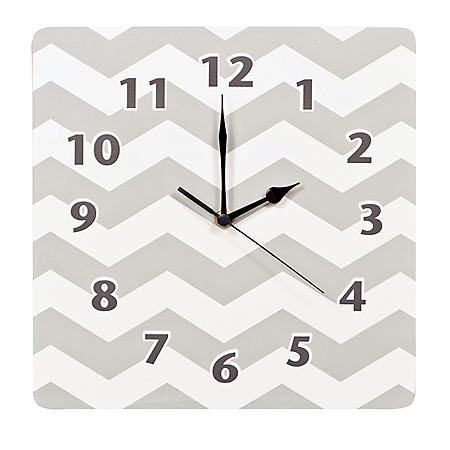 Trend Lab Wall Clock, Chevron Design (Choose Pink Or Gray)