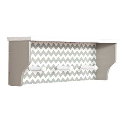 Trend Lab Shelf with Pegs, Dove Gray Chevron
