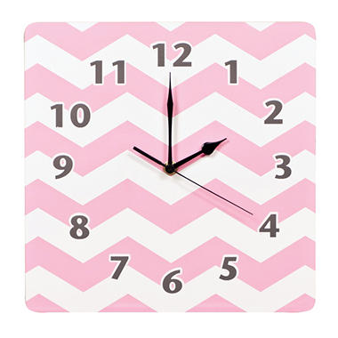Trend Lab Wall Clock, Pink Sky Chevron