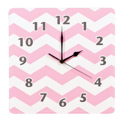 Trend Lab Wall Clock, Pink Sky Chevron