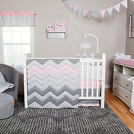 Trend Lab 3-Piece Crib Bedding Set, Cotton Candy Chevron