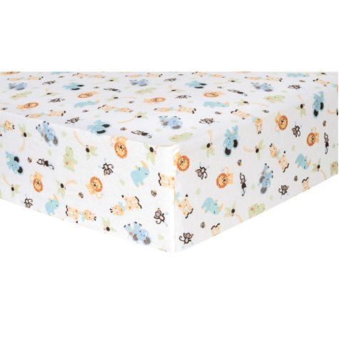 Trend Lab Flannel Fitted Crib Sheet, Jungle Friends