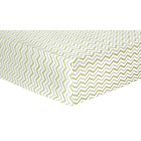 Trend Lab Flannel Fitted Crib Sheet - Sage, Gray and White