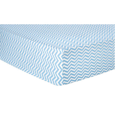 Trend Lab Flannel Fitted Crib Sheet, Blue and White Chevron