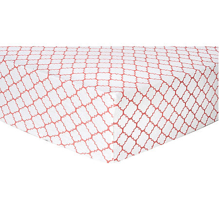 Trend Lab Flannel Fitted Crib Sheet, Coral Quatrefoil