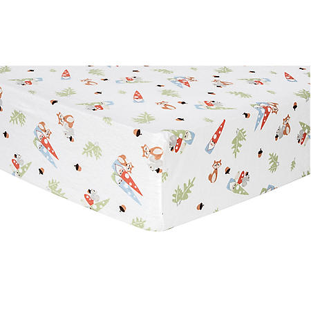 Trend Lab Flannel Fitted Crib Sheet, Forest Gnomes