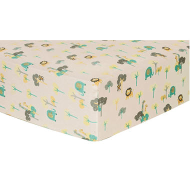 Trend Lab Flannel Fitted Crib Sheet, Lullaby Jungle
