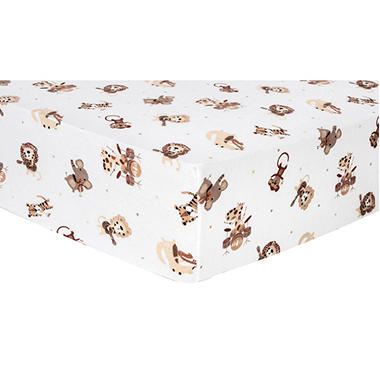 Trend Lab Flannel Fitted Crib Sheet, Safari Rock Band
