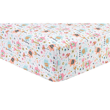 Trend Lab Flannel Fitted Crib Sheet, Playful Elephants