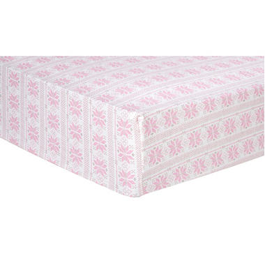 Trend Lab Flannel Fitted Crib Sheet, Pink Fair Isle