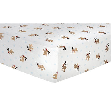 Trend Lab Flannel Fitted Crib Sheet, Reindeer