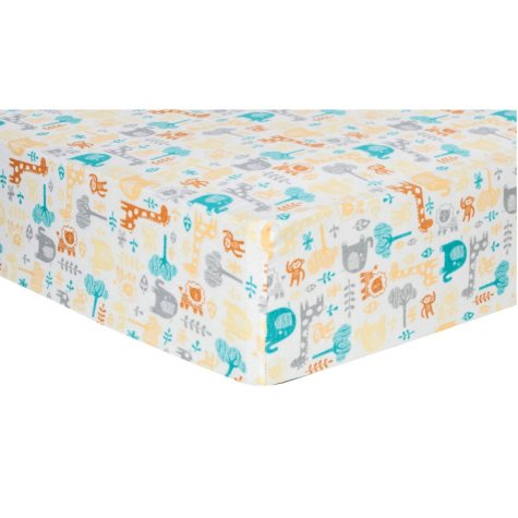 Trend Lab Flannel Fitted Crib Sheet, Lullaby Zoo