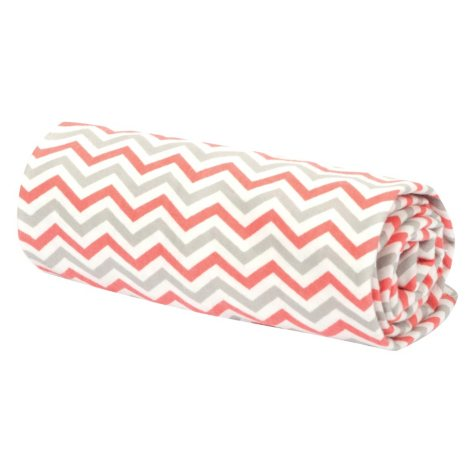 Trend Lab Flannel Swaddle Blanket - Coral, Gray and White Chevron