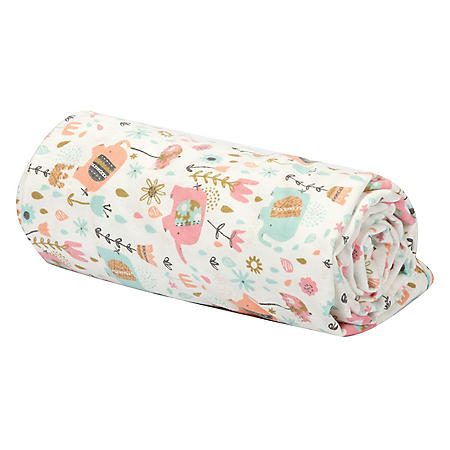 Trend Lab Flannel Swaddle Blanket, Playful Elephants