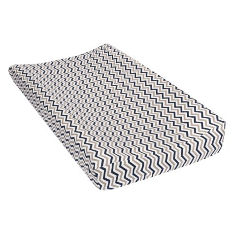 Trend Lab Flannel Changing Pad Cover - Navy, Gray and White Chevron