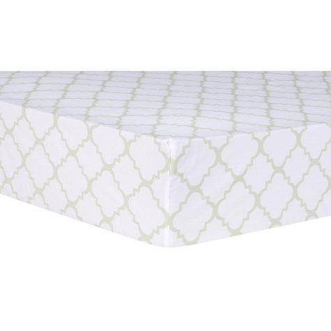 Trend Lab Fitted Crib Sheet, Sea Foam Quatrefoil