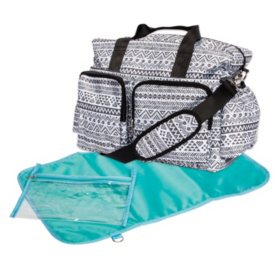 Trend Lab Deluxe Duffle Diaper Bag, Black and White Aztec