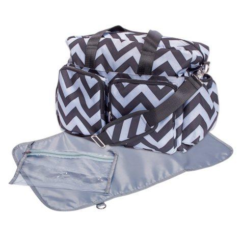 Trend Lab Deluxe Duffle Diaper Bag, Black and Gray Chevron