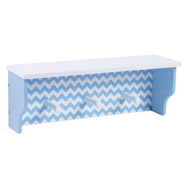 Trend Lab Shelf with Pegs, Blue Chevron