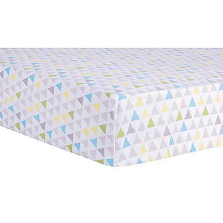 Trend Lab Fitted Crib Sheet, Triangles Multi-Colored