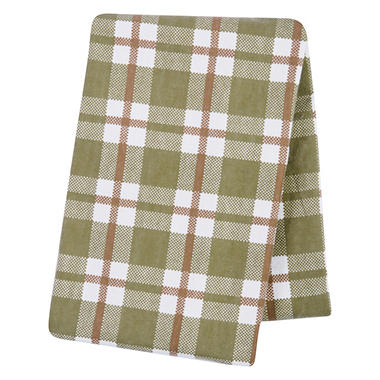 Trend Lab Deluxe Flannel Swaddle Blanket, Green Plaid