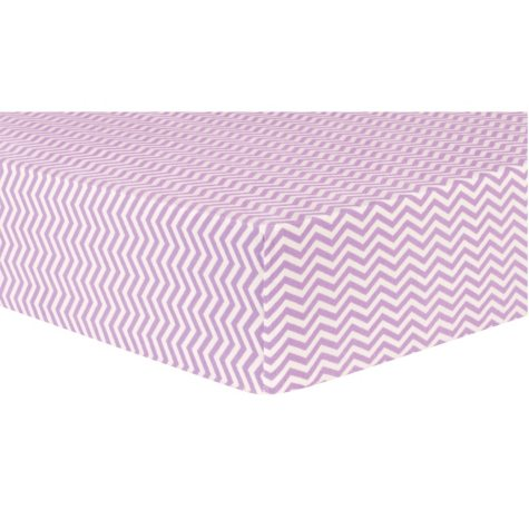 Trend Lab Deluxe Flannel Fitted Crib Sheet, Lilac Chevron