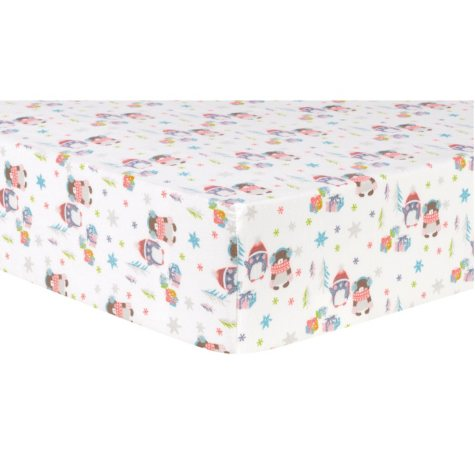 Trend Lab Deluxe Flannel Fitted Crib Sheet, Winter Wishes