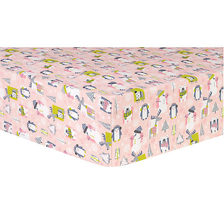 Trend Lab Deluxe Flannel Fitted Crib Sheet, Snow Pals Pink