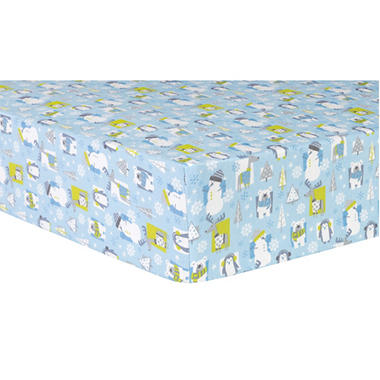 Trend Lab Deluxe Flannel Fitted Crib Sheet, Snow Pals Blue