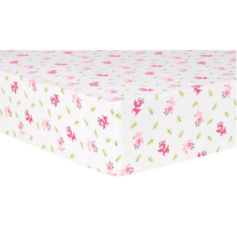 Trend Lab Deluxe Flannel Fitted Crib Sheet, Reindeer