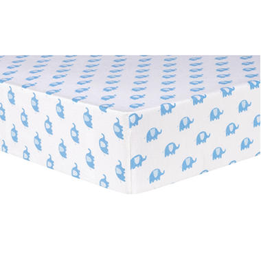 Trend Lab Deluxe Flannel Fitted Crib Sheet, Blue Elephants