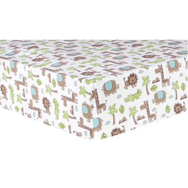 Trend Lab Deluxe Flannel Fitted Crib Sheet, Safari Animals