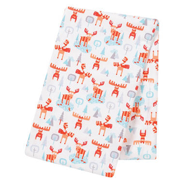 Trend Lab Jumbo Deluxe Flannel Swaddle Blanket, Winter Moose