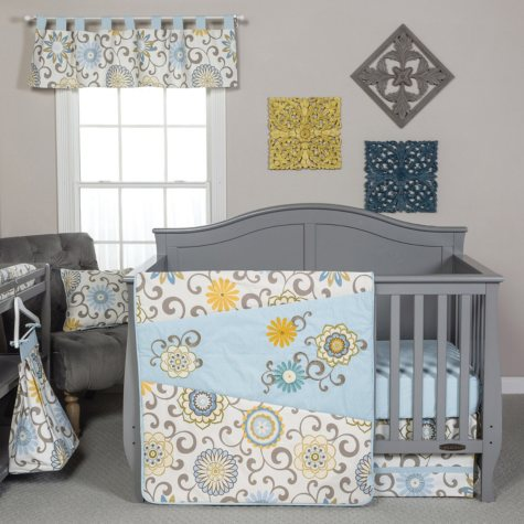 Waverly Baby by Trend Lab 4-Piece Crib Bedding Set, Pom Pom Spa