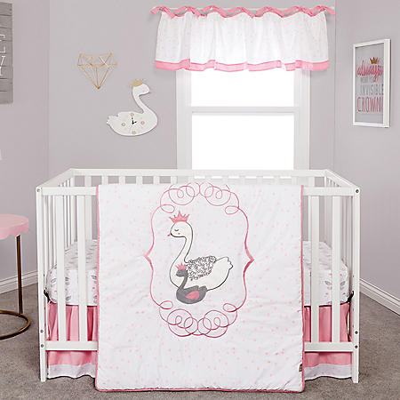 Trend Lab 4-Piece Crib Bedding Set, Swans