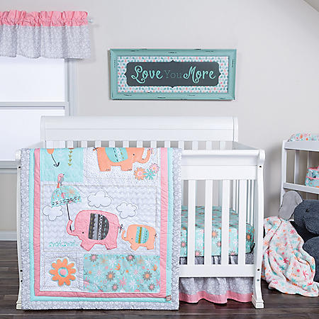 Trend Lab 4-Piece Crib Bedding Set, Playful Elephants