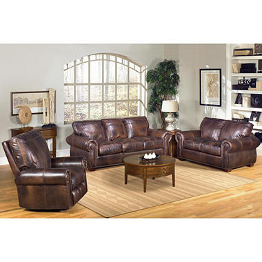 Kingston Top-Grain Leather Sofa, Loveseat and Recliner Living Room ...