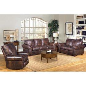 Kingston Top-Grain Leather Sofa, Loveseat and Recliner Living Room Set