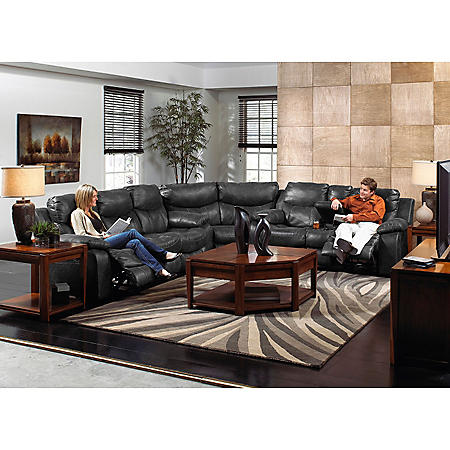 Santa Barbara Leather Reclining Sectional Living Room 3-Piece Set