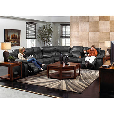 Living Room 3 Piece Table Sets santa barbara leather reclining sectional living room 3-piece set
