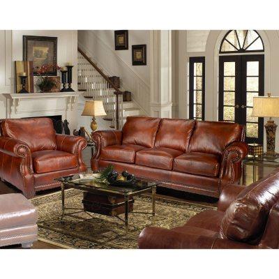 Bristol TopGrain Vintage Leather Craftsman Living Room Set