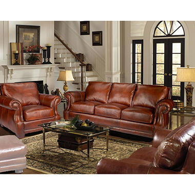 Bristol Top Grain Vintage Leather Craftsman Living Room Set. Living Room Sets   Sam s Club