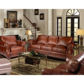 Bristol Top-Grain Vintage Leather Craftsman Living Room Set
