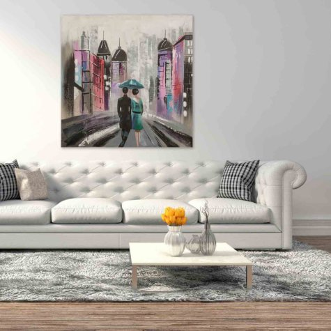 Canvas Oil Painting - Hand-Painted Street Scene