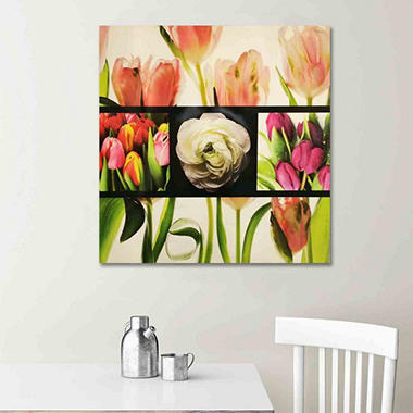 Canvas Oil Painting - Flower Grid