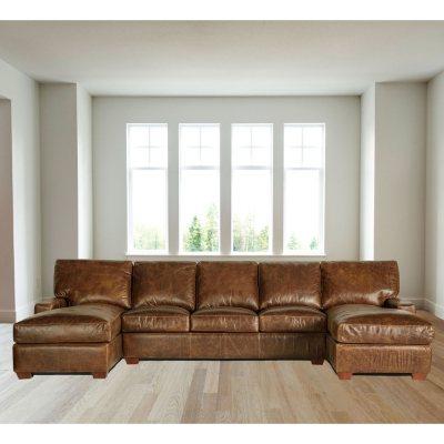 Restoration FullGrain Vintage Leather Craftsman Sectional Sofa